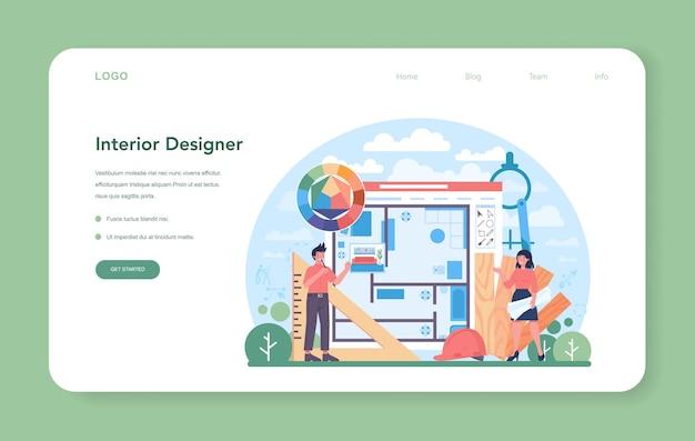 Projektant wnętrz baner internetowy lub strona docelowa. dekorator planujący projekt