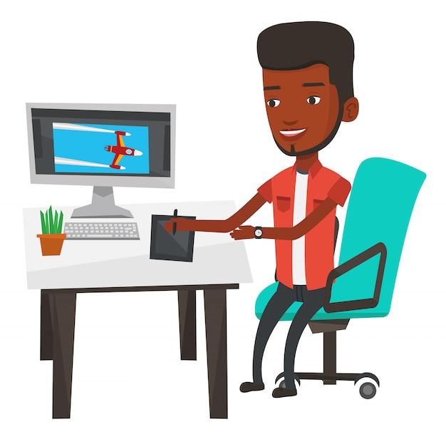 Projektant za pomocą cyfrowego tabletu graficznego.