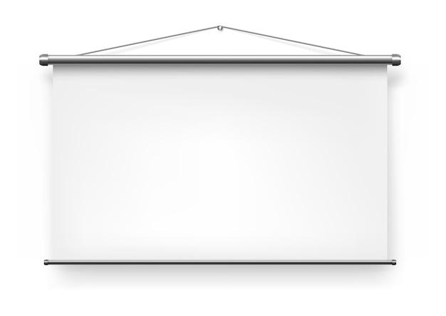 Projektor ekranowy, biała pusta tablica slajdów prezentacji, realistyczna izolowana makieta wyświetlania tablicy. przenośny składany projektor ekranowy w tle, ściana wideo do projekcji prezentacji biurowej