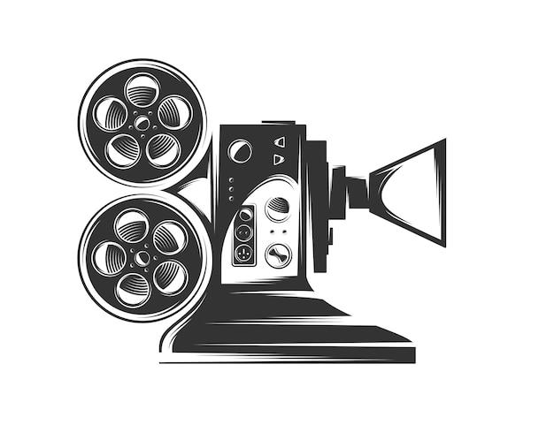 Projektor kinowy na białym tle. elementy wystroju.