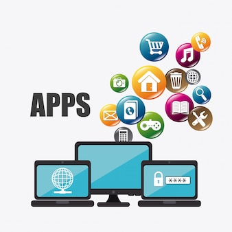 Projektowanie aplikacji mobilnych i ikon technologii.