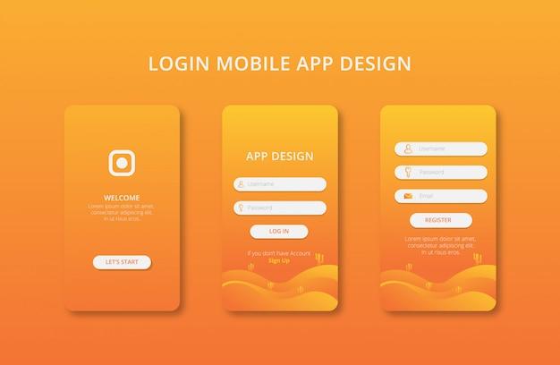 Projektowanie aplikacji mobilnych z wektorem gradientu koloru premium
