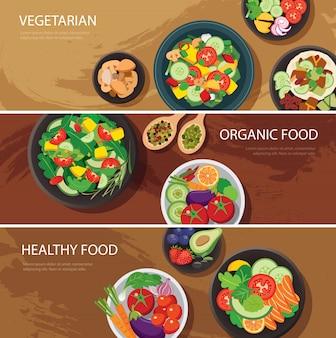 Projektowanie banerów internetowych żywności. wegetariańska, żywność ekologiczna, zdrowa żywność