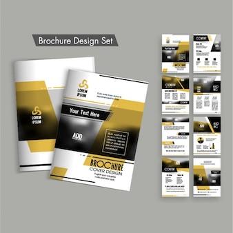 Projektowanie broszur zestaw z brązowymi kształty