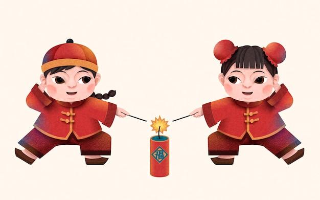 Projektowanie chińskich znaków noworocznych z papieru, dzieci zapalające petardy