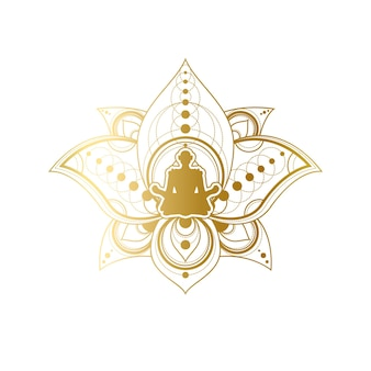Projektowanie etykiet jogi i medytacji, kobiece sylwetki w szablonie pozowania golden lotus. salon piękności lub godło centrum spa relaks lub marki element ilustracja wektorowa