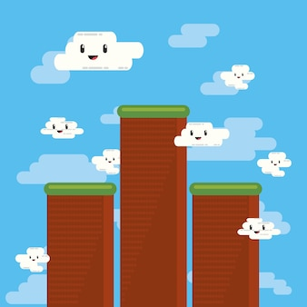 Projektowanie gier wideo z pikselowanymi górami i chmurami kawaii