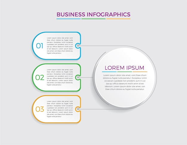 Projektowanie i marketing infografiki. koncepcja biznesowa z 3 opcjami, krokami lub procesami.