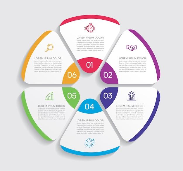 Projektowanie i marketing infografiki. koncepcja biznesowa z 6 opcjami, krokami lub procesami.