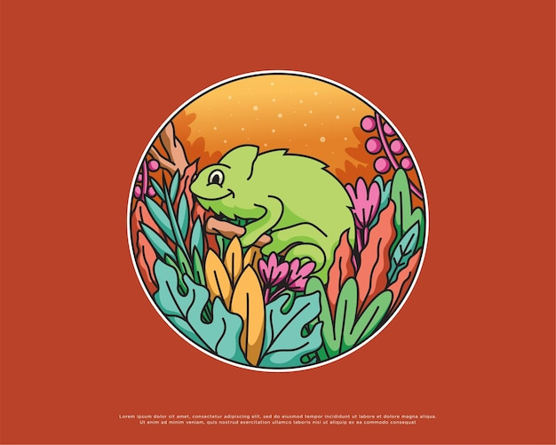 Projektowanie ilustracji kameleon i przyrody