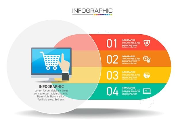 Projektowanie infografiki 4 kroki z ikonami marketingowymi mogą być wykorzystane do układu przepływu pracy, diagramu, raportu rocznego, projektowania stron internetowych.