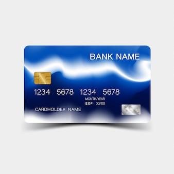 Projektowanie kart kredytowych. kolor niebieski. i inspiracja abstrakcyjna.