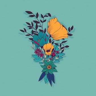 Projektowanie kolorowe kwiaty w tle