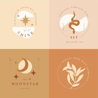 Projektowanie liniowych logo szablonów lub emblematów - tajemniczy styl boho. streszczenie symbol ręcznie robionych produktów i butików rzemieślniczych.