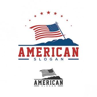 Projektowanie logo amerykańską flagę