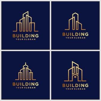 Projektowanie logo budynków. projektowanie logo konstrukcji w stylu linii sztuki.