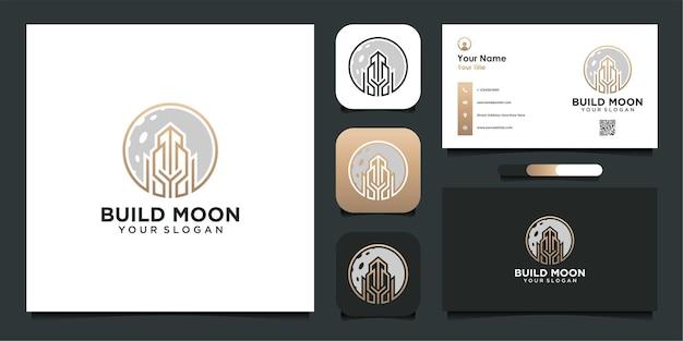 Projektowanie logo budynku i księżyca oraz wizytówka premium vector