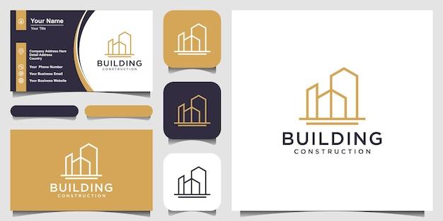 Projektowanie logo budynku z abstrakcyjnym budynkiem miejskim w stylu sztuki linii dla inspiracji do projektowania logo