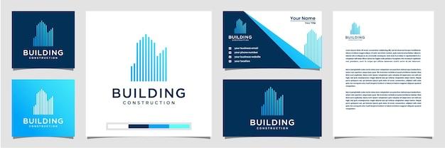 Projektowanie logo budynku z koncepcją linii. streszczenie budynku miasta dla inspiracji do projektowania logo. projekt logo wizytówka i papier firmowy