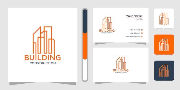 Projektowanie logo budynku z koncepcją linii. streszczenie budynku miasta dla inspiracji projektu logo. projekt logo i wizytówki