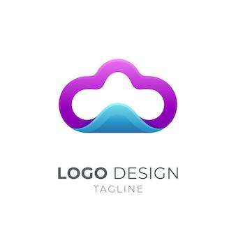 Projektowanie logo chmury i fali