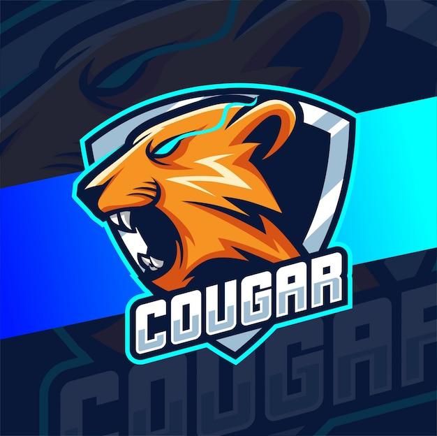 Projektowanie logo cougar puma maskotka esport