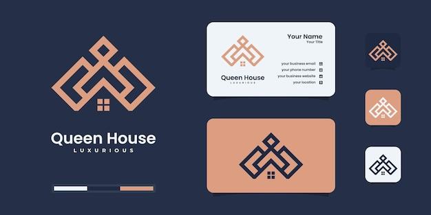 Projektowanie logo domów królowej. szablon projektu logo premium nieruchomości.