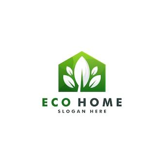 Projektowanie logo domu ekologicznego. szablon ikony natury
