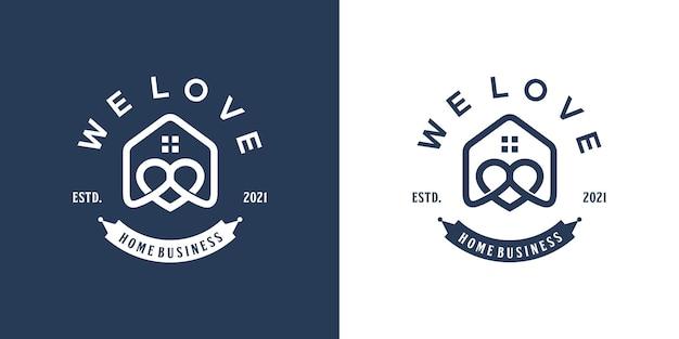Projektowanie logo domu miłości w stylu liniowym