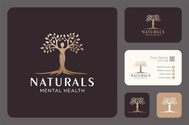 Projektowanie logo drzewa życia lub zdrowia psychicznego w złotym kolorze.