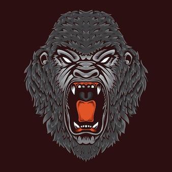 Projektowanie logo e-sport dzikich zwierząt zły goryl