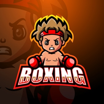 Projektowanie logo e-sport maskotka chłopiec bokser