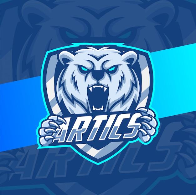 Projektowanie logo e-sport maskotka niedźwiedź polarny