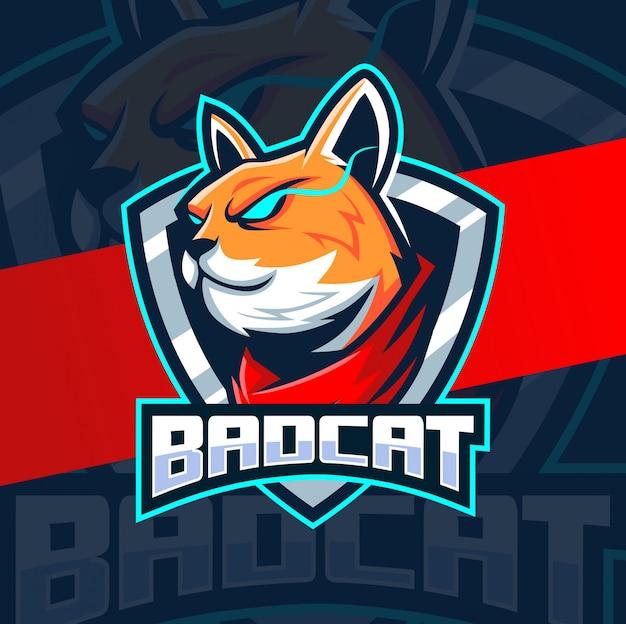 Projektowanie logo e-sport maskotka zły kot
