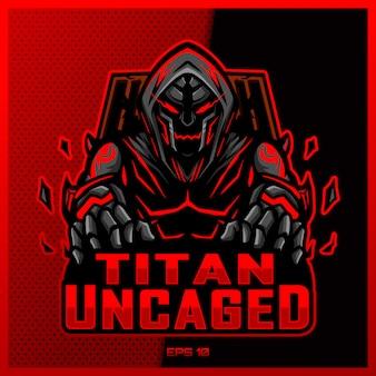 Projektowanie logo e-sportowego i sportowego maskotki red titan monster w nowoczesnej ilustracyjnej koncepcji drukowania odznaki zespołu, godła i pragnienia. ilustracja czerwony potwór na ciemnym czerwonym tle. ilustracja