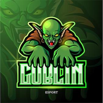 Projektowanie logo e-sportowej zielonej maskotki goblin.