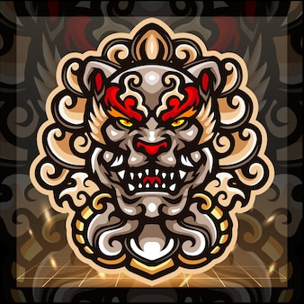 Projektowanie logo e-sportu maskotki foo dog