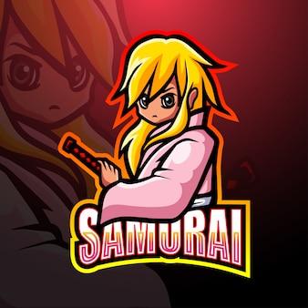 Projektowanie logo e-sportu maskotki samuraj
