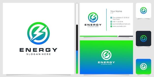 Projektowanie logo energii i wizytówki.