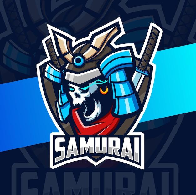 Projektowanie logo esport maskotka ciemnej samurajskiej czaszki