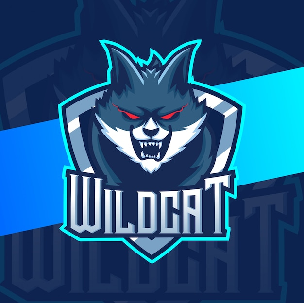Projektowanie logo esport maskotka dziki kot