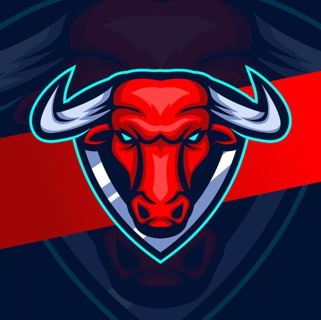 Projektowanie logo esport maskotka głowa byka