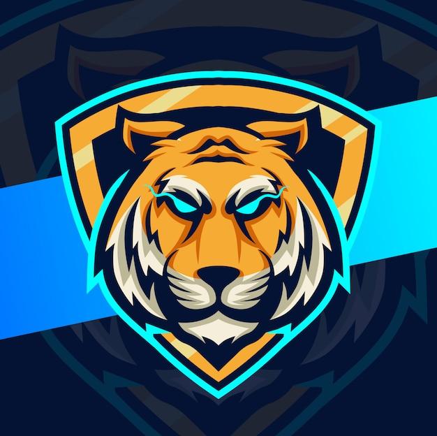 Projektowanie logo esport maskotka głowa tygrysa