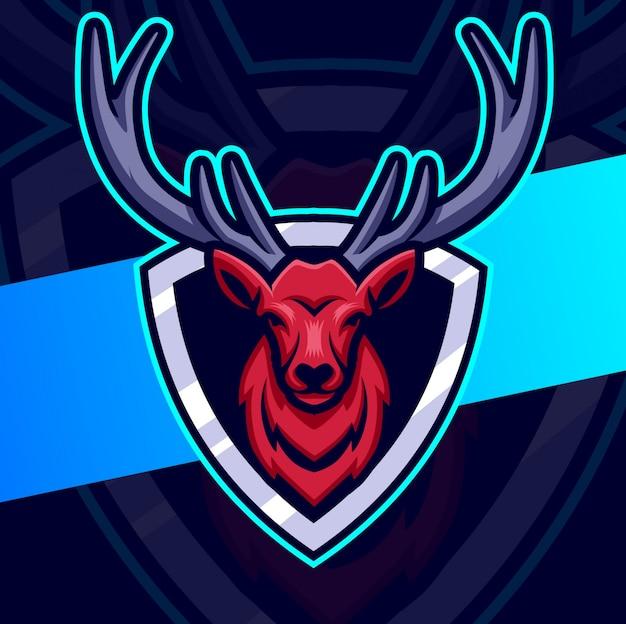 Projektowanie logo esport maskotka jelenia