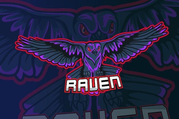 Projektowanie logo esport maskotka raven