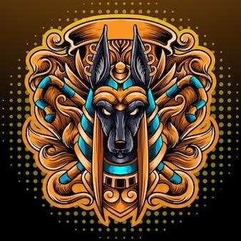 Projektowanie logo esport maskotki głowy anubisa