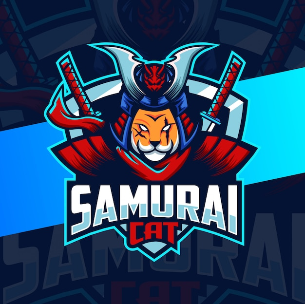 Projektowanie logo esport maskotki kota samuraja