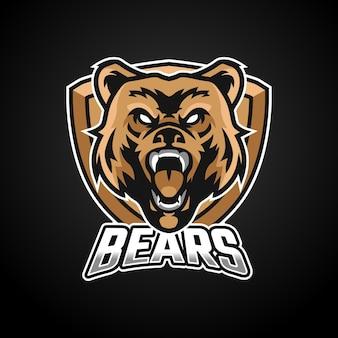Projektowanie logo esport maskotki niedźwiedzia