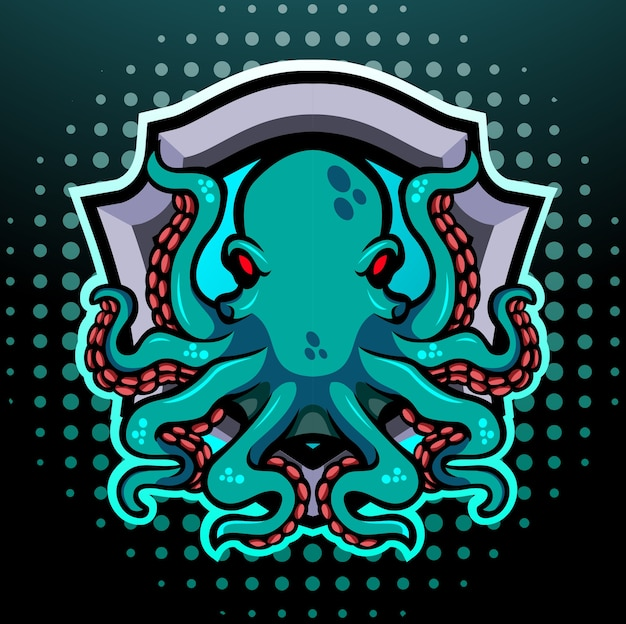 Projektowanie logo esport maskotki octopus kraken
