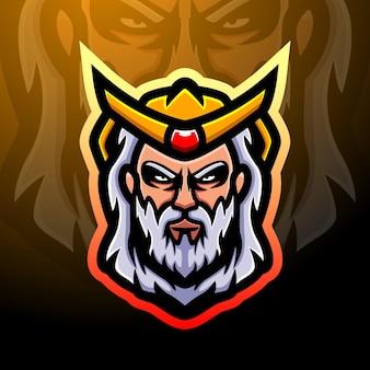 Projektowanie logo esport maskotki poseidon